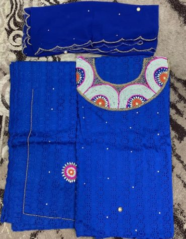 Cotton Royal Blue Dry Lace 3 Pieces Hollow Out Mix Beaded Work (DCL-056)