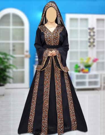 Dubai Abaya Unique Beaded V-Neck Black Designer Arabian Wedding Farasha Maxi Gown
