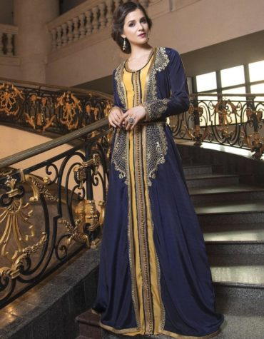 Partywear Moroccan Golden Beaded Long Sleeves Wedding Kaftan Jacket dress