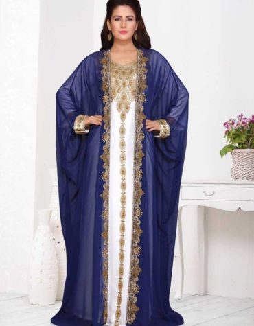 Islamic Partywear Moroccan Golden Beaded Long Sleeves Wedding Guest Jacket Kaftan