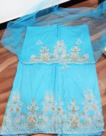 Heavy stone Luxury beaded african 3 Piece silk Wedding fabric Indian George wrapper