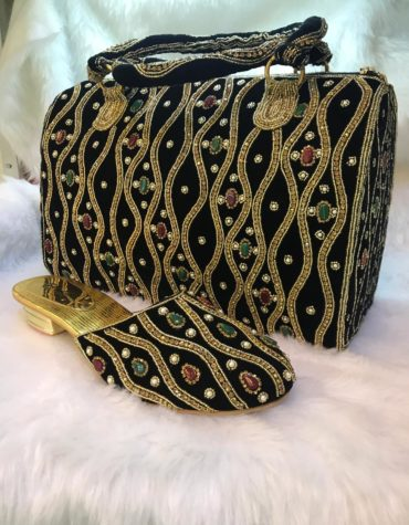 Women Crystal Beaded Evening Bags African party Wedding Purse with Sandal