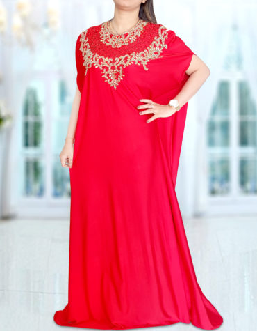 Spandex Red Kaftan African Attire Plus Size Abaya Moroccan Gold Beads for Women