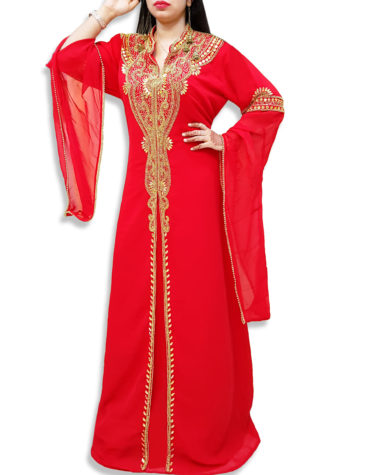 Elegant Abaya African Plus Size Beaded Dress Arabian Muslim Wedding Dubai Kaftan