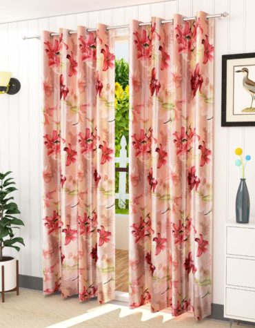 Soulful Creations Exclusive 5D Digital Floral Printed Polyester Curtains for Long Door 9 Feet