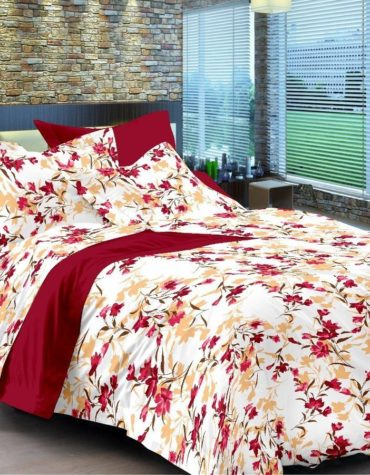 Comfort Size Cotton King Size Maroon Bedsheet with 2 Pillow Covers