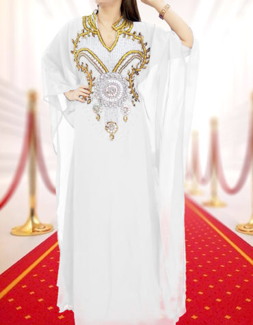 Embellished Wedding Moroccan Dress Plus Size Robe Dubai Kaftan Abaya for Women-White