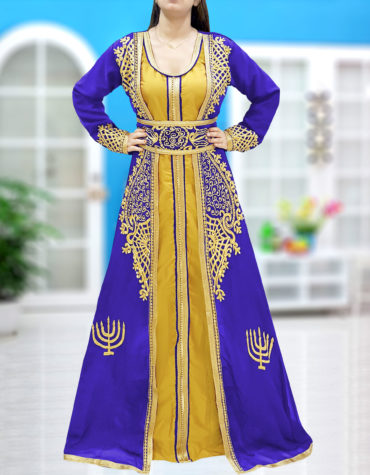Abaya Dubai Kaftan for Women Muslim Wedding Dress Plus Size Gown African Clothing-Royal Blue