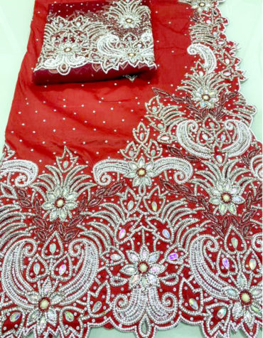 Nigerian Bridal Wedding Stone Beaded Beautiful Indian George Wrapper with Blouse