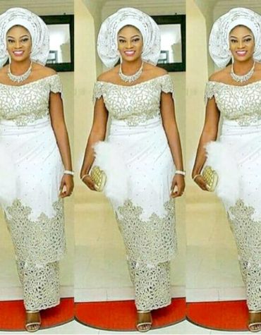 Embellishment Beaded Wedding VIP Madam Silk Nigerian George Wrapper with Blouse
