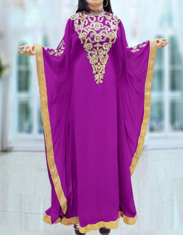 Caftan Dresses for Women Long Sleeve Formal Maxi Gown Evening African Dress-Light Purple