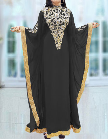 Caftan Dresses for Women Long Sleeve Formal Maxi Gown Evening African Dress-Black