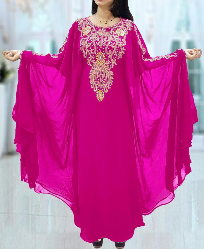 Dubai Kaftan for Women Beads work Maxi Dress Gown Formal Chiffon African Wear-Fuchsia