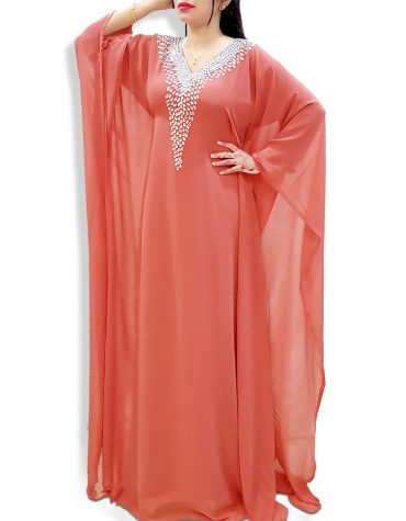 Dubai Kaftan Jalabia Abaya Silver Stone Beaded African Attire Dresses for Women