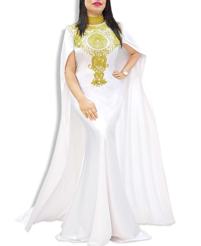 Robe Dubai Kaftan Beaded Moroccan Fancy Cape Sleeve White Abaya African Dresses
