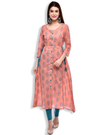 African Boutique Women's A-Line Cotton Kurta (PEACH)