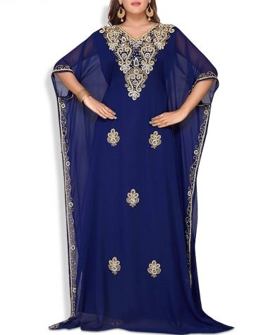 Women Abaya and Evening Dresses Golden Beaded Chiffon Moroccan Dubai Kaftan