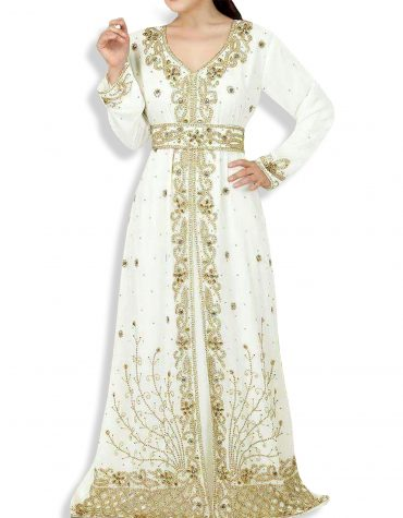 African Abaya Attire Golden Beaded Crystal Shining Chiffon Kaftan