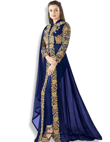 Fancy Heavy Embroidery Work Stitched Chiffon Kaftan