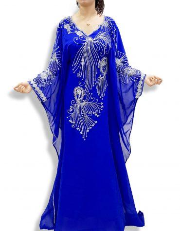 Embroidered Farasha Caftan Silver Beads Work Kaftan Jalabiya Dresses for Women