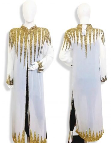 Beach Cover Up Long Chiffon Party Wear Beaded Womens Dubai Kimono Kaftan-White