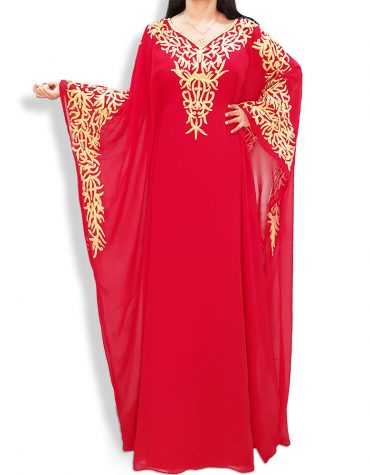 Gold Embroidery African Evening Gown Long Abaya Caftan Dresses for Women