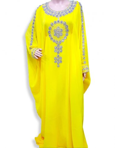 Elegant Moroccan Crystal Beaded Abaya Maxi Dresses for womens Evening Kaftan